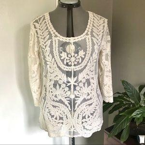 2/$20 Cato Off-White Lace Bohemian Top, Size M